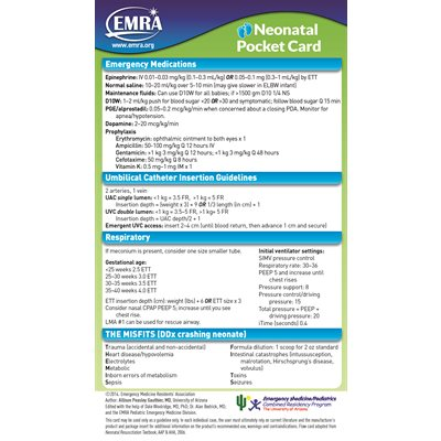 EMRA Neonatal Pediatric Card